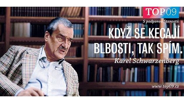 Karel Schwarzenberg na billboardu TOP 09