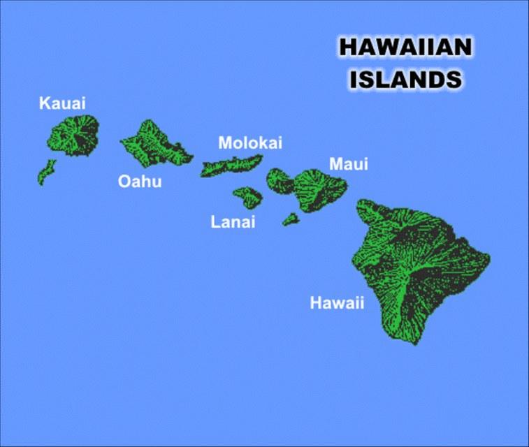 Mapa Mapa Havajskych Ostrovu