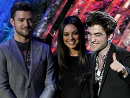 Justin Timberlake, Mila Kunisová a Robert Pattinson na MTV Movie Awards Show (5. června 2011)