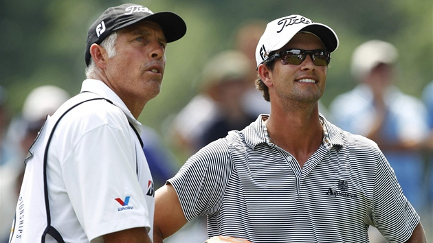 Adam Scott a jeho caddie Steve Williams