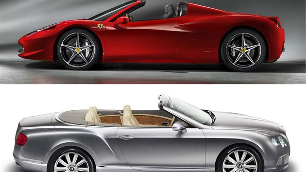 Ferrari 458 Spider a Bentley Continental GTC