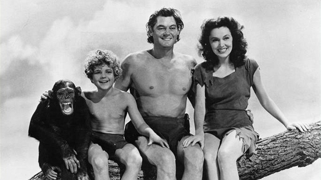 Šimpanz Cheeta s hereckými kolegy - Johnny Sheffield, Johnny Weissmuller