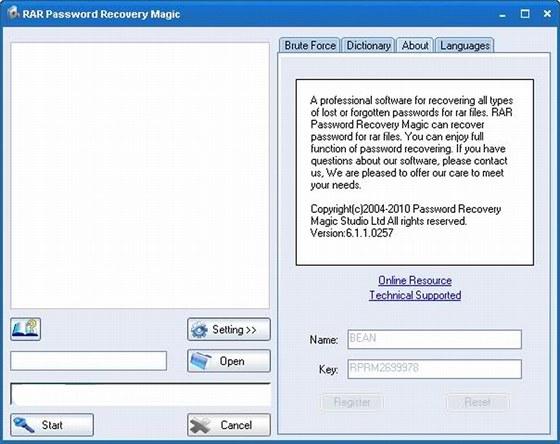 key rar password recovery magic
