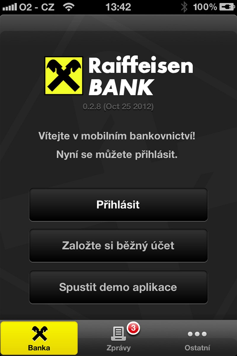Mobilní aplikace RB - úvodní stránka pro přihlášení do mobilního  bankovnictví cc3a82d877