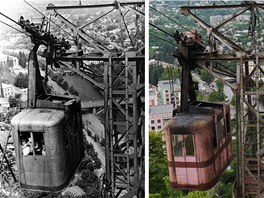 06 A photo of tramway 25 dating from the 1950s, alongside a current picture. ...