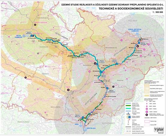 Kanál Dunaj-Odra-Labe. Mapa, kudy by měl kanál vést.