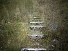A view of worn stone steps which lead to the disused ski jump from the Sarajevo...