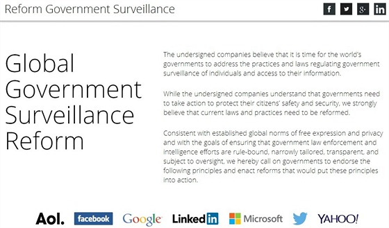 Web iniciativy Reform Government Surveillance