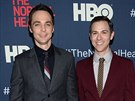 Jim Parsons a Todd Spiewak na premiéře filmu The Normal Heart (New York, 12....