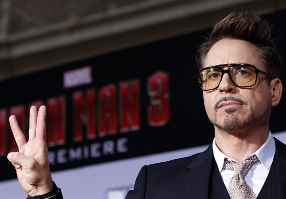 Robert Downey Jr. na premiéře filmu Iron Man 3