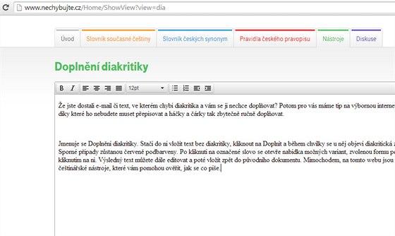 příklad zavedení datování profil