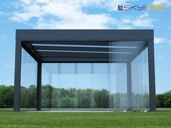 Skylightec streetcontainer glass anthracite partially open