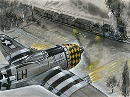 P-47 Thunderbolt útočí.