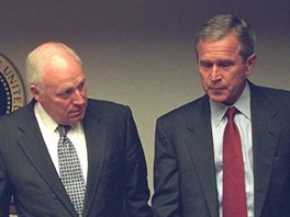 U.S. President George Bush is pictured with U.S. Vice President Dick Cheney and...
