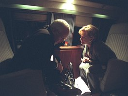 U.S. Vice President Dick Cheney is pictured with Lynne Cheney aboard Marine Two...