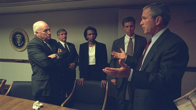 U.S. President George Bush is pictured with U.S. Vice President Dick Cheney and senior staff in the President's Emergency Operations Center in Washington in the hours following the September 11, 2001 attacks in this U.S National Archives handout pho