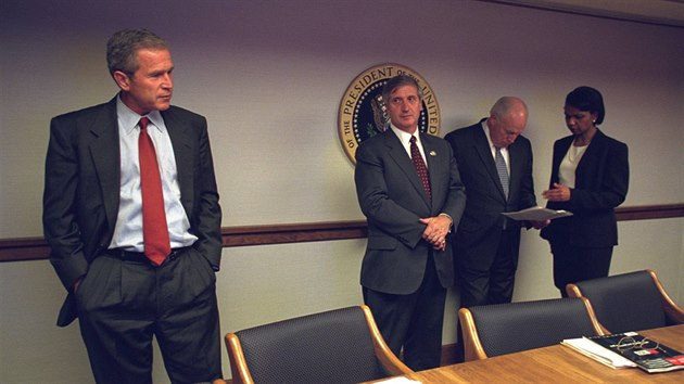 U.S. President George Bush is pictured with U.S. Vice President Dick Cheney and National Security Advisor Condoleezza Rice in the President's Emergency Operations Center in Washington in the hours following the September 11, 2001 attacks in this U.S