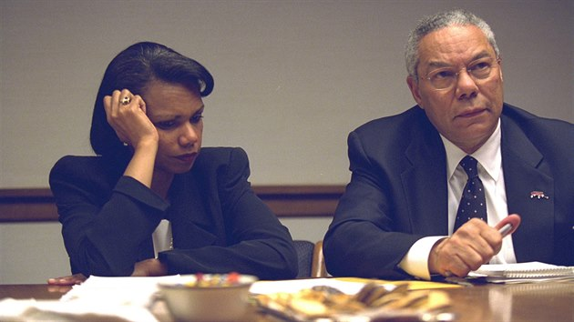U.S. Secretary of State Colin Powell (R) and National Security Advisor Condoleezza Rice in the President's Emergency Operations Center in Washington in the hours following the September 11, 2001 attacks in this U.S. National 
