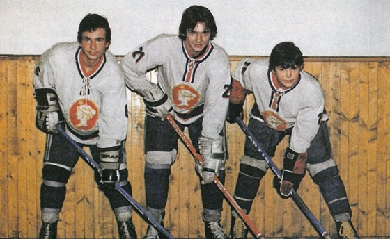 V začátcích. Zleva trio Radek Vinš, David Čermák a Jaromír Jágr.