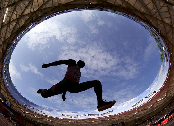 Nelson Evora of Portugal competes in the men's triple jump qualifying round...