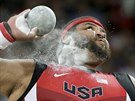 United States' Reese Hoffa competes in the final of the men's shot put at the...