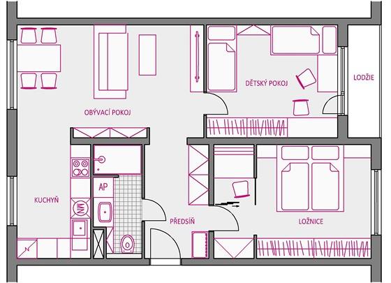 Změna dispozice panelového bytu 3+1
