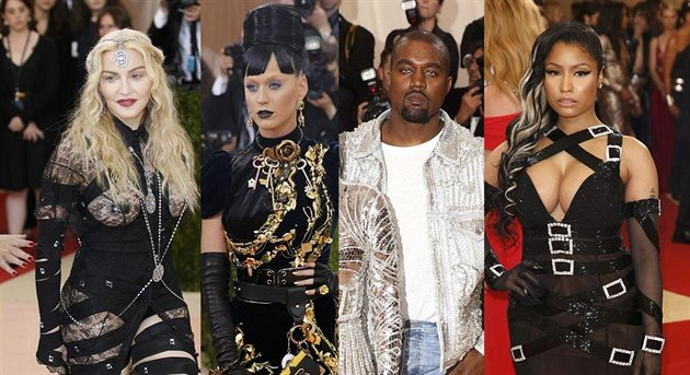 Madonna, Katy Perry, Kanye West a Nicki Minaj