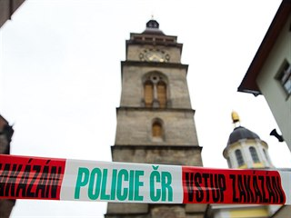 Policejní zátaras u Bílé věže v Hradci Králové.