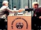 Bobby Fischer při utkání s ruským velmistrem Borisem Spasskym v roce 1992
