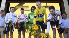 (Zprava) Tom Dumoulin, Chris Froome, Peter Sagan, Thomas de Gendt a Adam Yates...