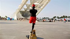 Erinaldo Cardoso, a 43-year-old street performer, poses for a portrait in...