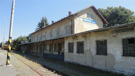 Nádraží v Dětřichově nad Bystřicí na trati Olomouc - Bruntál