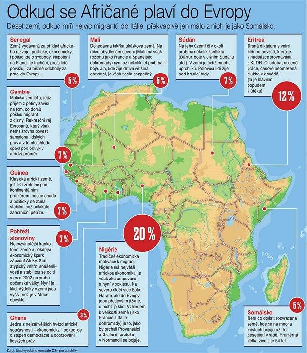 Odkud se Afričané plaví do Evropy. Mapa.
