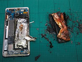 A combination photo shows a Samsung Note 7 exploding as pressure is applied to...