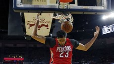 Anthony Davis z New Orleans po smeči do koše Denveru.