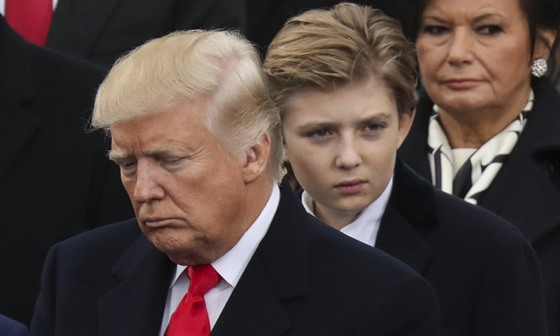 Donald Trump a jeho syn Barron (Washington, 20. ledna 2017)
