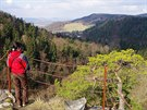 Vyhlídka z vrcholu Pustého zámku do údolí Kamenice