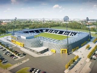 Vizualizace konečné podoby fotbalového stadionu v Hradci Králové