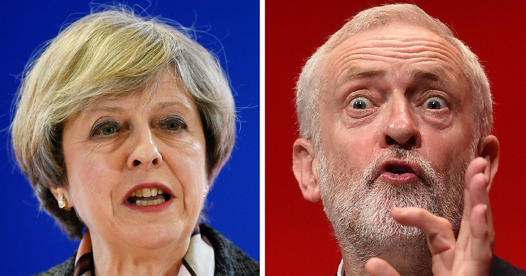 Theresa Mayová a Jeremy Corbyn.