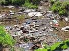 Odpadky se v osadě vyváží jednou za dva týdny. Končí tak všude, i ve vodě.