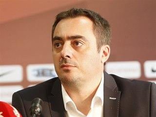 Generální ředitel Sparty Adam Kotalík během předsezónní tiskové konference na...