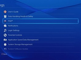 Menu Sony Playstation