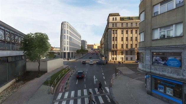 Vizuální zpracování rekonstrukce Masarykova nádraží, které bude pozorovatelné i z ulice Hybernská.