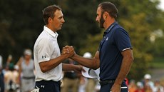 Jordan Spieth a Dustin Johnson (vpravo) na turnaji Northern Trust v New Yorku.