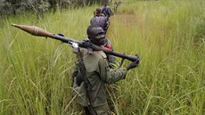 SPLA-IO (SPLA-In Opposition) rebels march after an assault on government SPLA...