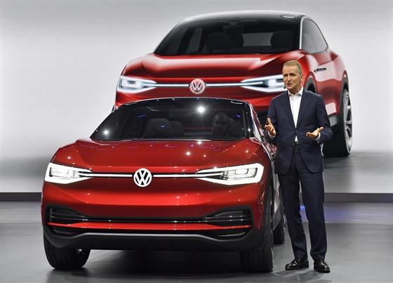 Herbert Diess, head of Volkswagen Brands at the Frankfurt Motor Show ...