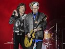 Ronnie Wood, Mick Jagger a Keith Richards z Rolling Stones (Hamburk, 9. září...
