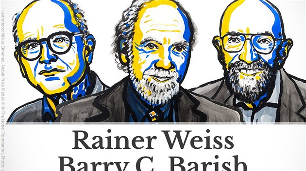 Laureáti Nobelovy ceny za fyziku 2017: Rainer Weiss, Barry Barish a Kip Thorne