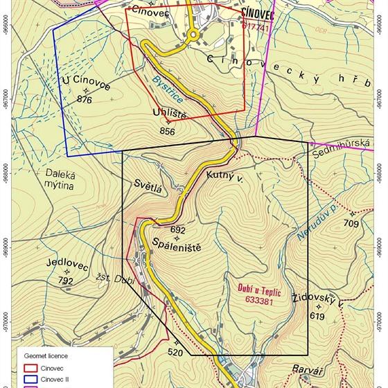 Mapa okolí Cínovce s vyznačenými čtyřmi průzkumnými prostory, pro která firmy...