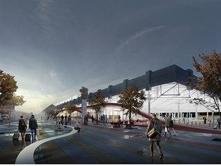 Vizualizace přibližující, jak by mělo v budoucnu vypadat autobusové nádraží...